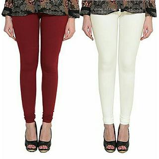 Alishah Cotton Lycra Premium Leggings For Women And Girl Maroon Off White