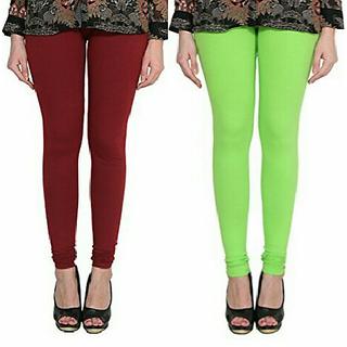 Alishah Cotton Lycra Premium Leggings For Women And Girl Maroon Parrot Green