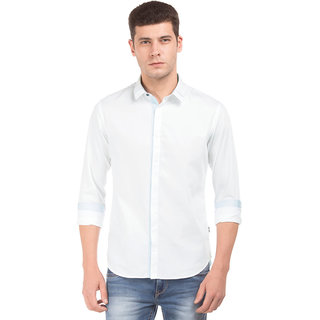 Flying Machine White Men Slim Fit Shirt