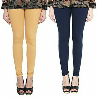 Alishah Cotton Lycra Premium Leggings For Women And Girl Gold Skin Navy Blue