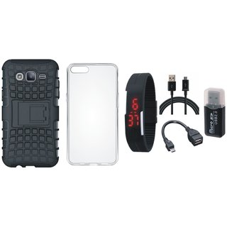 Moto G4 Plus Defender Back Cover with Kick Stand with Memory Card Reader, Silicon Back Cover, Digital Watch, OTG Cable and USB Cable