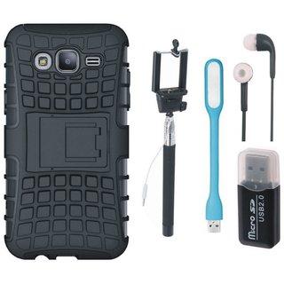 Moto G4 Plus Shockproof Kick Stand Defender Back Cover with Memory Card Reader, Selfie Stick, Earphones and USB LED Light