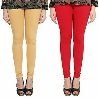 Alishah Cotton Lycra Premium Leggings For Women And Girl Gold Skin Red