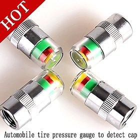 4pcs Car Tyre Meter Pressure gauge Monitor Indicator Monitoring System Cap Sensor 3 Color Alert Pressure Vacuum Tester