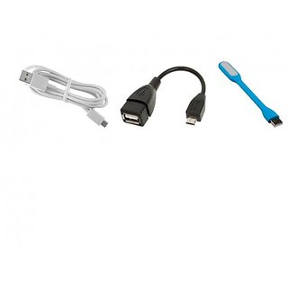 Otg Cable + Data Cable + USB Light Combo