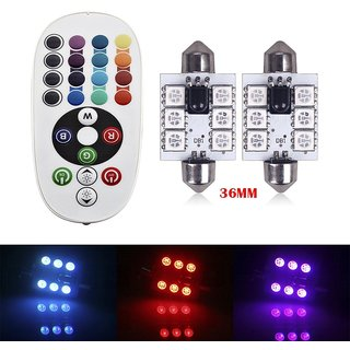 2Pcs Colorful Controlled By Remote Control 5050 6Smd 36 Mm Car Led Dome Reading Super Bright Lamp New Lights Wireless