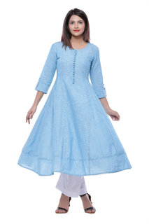 Meia Blue Plain Cotton Stitched Kurti