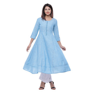 Meia Blue Plain Cotton Stitched Kurti