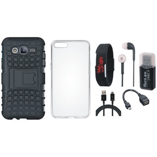 Redmi 4 Shockproof Tough Armour Defender Case with Memory Card Reader, Silicon Back Cover, Digital Watch, Earphones, OTG Cable and USB Cable