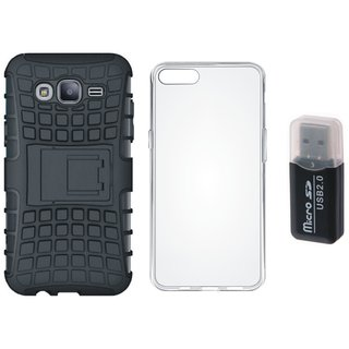 Oppo A57 Shockproof Kick Stand Defender Back Cover with Memory Card Reader, Silicon Back Cover, Free Silicon Back Cover
