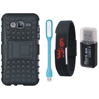 Samsung J7 Prime ( SM-G610F ) Shockproof Kick Stand Defender Back Cover with Memory Card Reader, Digital Watch and USB LED Light