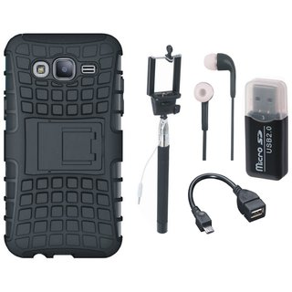 OnePlus 3 Defender Back Cover with Kick Stand with Memory Card Reader, Selfie Stick, Earphones and OTG Cable