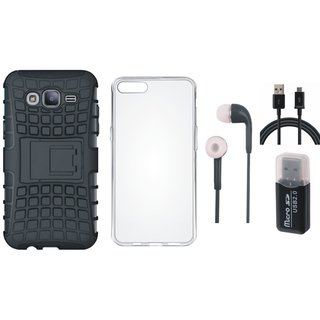 Samsung J7 Max Shockproof Kick Stand Defender Back Cover with Memory Card Reader, Silicon Back Cover, Earphones and USB Cable