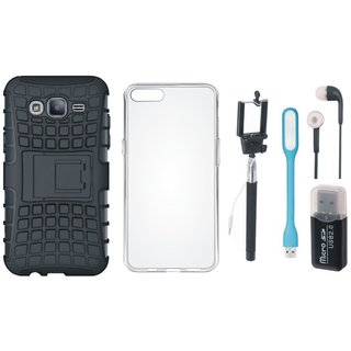 Samsung J7 Prime ( SM-G610F ) Defender Back Cover with Kick Stand with Memory Card Reader, Silicon Back Cover, Selfie Stick, Earphones and USB LED Light
