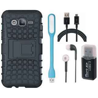 Samsung J7 2016 ( Model J710 ) Defender Back Cover with Kick Stand with Memory Card Reader, Earphones, USB LED Light and USB Cable