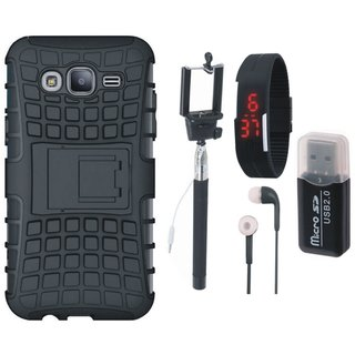 Samsung J7 Prime ( SM-G610F ) Shockproof Kick Stand Defender Back Cover with Memory Card Reader, Selfie Stick, Digtal Watch and Earphones