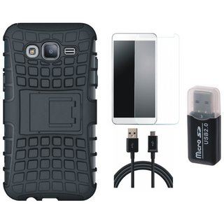 Samsung C9 Pro Defender Tough Hybrid Shockproof Cover with Memory Card Reader, Tempered Glass and USB Cable