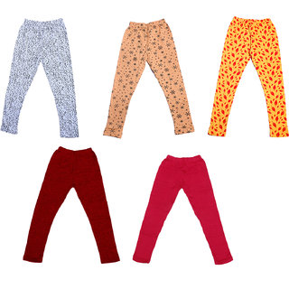 IndiWeaves Girls 3 Cotton Printed and 2 Wollen Warm Legging (Pack of 5)_Multicolor_Size-1-3 Years_714181921-71400-1011-IW-P5-22