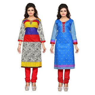 Nakoda Women's Multicolor Printed Cotton Unstitched Kurti (Pack of 2)