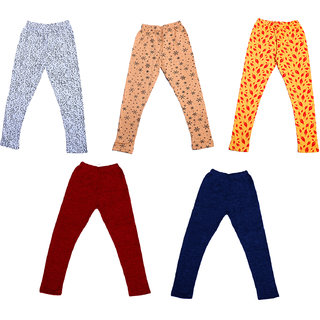 IndiWeaves Girls 3 Cotton Printed and 2 Wollen Warm Legging (Pack of 5)_Multicolor_Size-1-3 Years_714181921-71400-1112-IW-P5-22