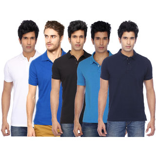 FUNKY GUYS Men's Multicolor Plain Cotton Blend Polo T-shirt Pack of 5