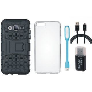 Oppo A37 Shockproof Kick Stand Defender Back Cover with Memory Card Reader, Silicon Back Cover, USB LED Light and USB Cable
