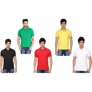 FUNKY GUYS Men's Multicolor Plain Cotton Blend Polo T-shirt Pack of 5