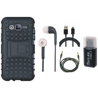 Moto E4 Shockproof Tough Armour Defender Case with Memory Card Reader, Earphones, USB Cable and AUX Cable