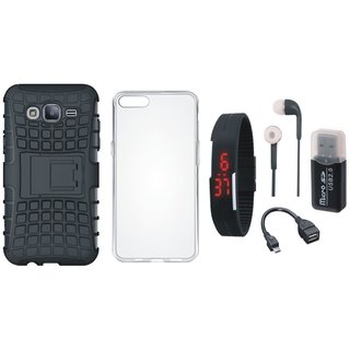 Samsung C7 Pro Shockproof Kick Stand Defender Back Cover with Memory Card Reader, Silicon Back Cover, Digital Watch, Earphones and OTG Cable