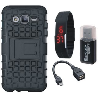 Samsung J5 Prime Defender Tough Armour Shockproof Cover with Memory Card Reader, Digital Watch and OTG Cable