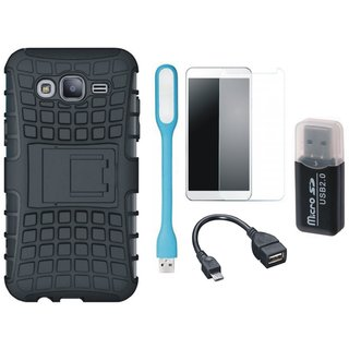 Samsung C9 Pro Defender Tough Armour Shockproof Cover with Memory Card Reader, Tempered Glass, USB LED Light and OTG Cable