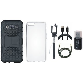 Moto C Plus Shockproof Kick Stand Defender Back Cover with Memory Card Reader, Silicon Back Cover, Selfie Stick, USB Cable and AUX Cable