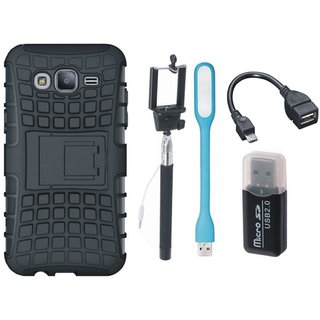 Moto E4 Defender Back Cover with Kick Stand with Memory Card Reader, Selfie Stick, LED Light and OTG Cable