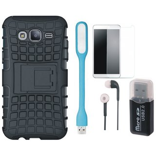 Moto C Shockproof Tough Armour Defender Case with Memory Card Reader, Tempered Glass, Earphones and USB LED Light
