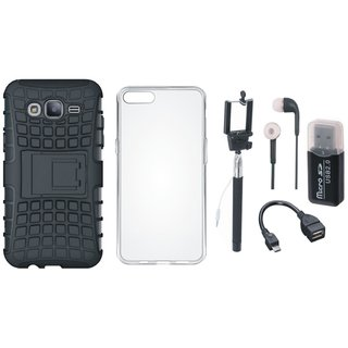 Vivo V3 Shockproof Kick Stand Defender Back Cover with Memory Card Reader, Silicon Back Cover, Selfie Stick, Earphones and OTG Cable