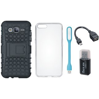 Oppo F5 Defender Tough Hybrid Shockproof Cover with Memory Card Reader, Silicon Back Cover, USB LED Light and OTG Cable