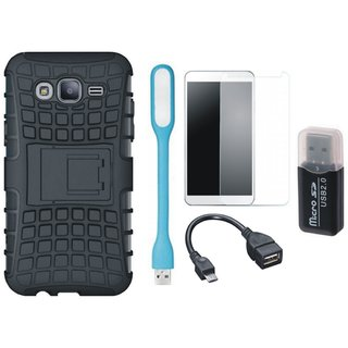 Moto C Plus Shockproof Tough Armour Defender Case with Memory Card Reader, Tempered Glass, USB LED Light and OTG Cable