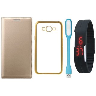 Moto G4 4th Gen Premium Leather Finish Flip Cover with Free Silicon Back Cover, Digital Watch and USB LED Light