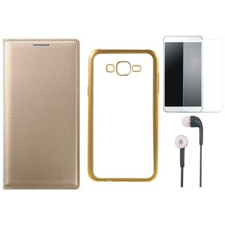 Leather Finish Flip Cover for Oppo A57 with Free Silicon Back Cover, free Earphones and Free Tempered Glass