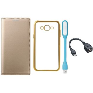 Leather Finish Flip Cover for Moto E3 Power with Free Silicon Back Cover, free USB LED Light and Free OTG Cable