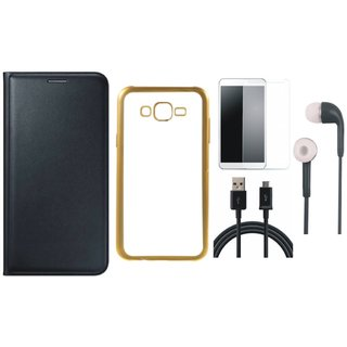 Redmi 2 Flip Cover with Free Silicon Back Cover, Tempered Glass, Earphones and USB Cable