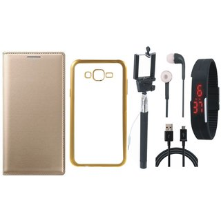 Premium Quality Leather Finish Flip Cover for Moto E3 Power with Free Silicon Back Cover, Selfie Stick, Digtal Watch, Earphones and USB Cable