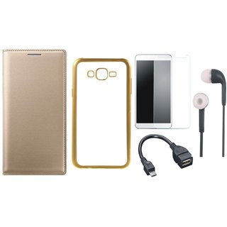 Leather Finish Flip Cover for Oppo A57 with Free Silicon Back Cover, free Tempered Glass, free Earphones and Free OTG Cable