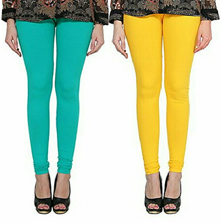 Alishah Cotton Lycra Premium Leggings For Women And Girl Sea Green Hot Yellow