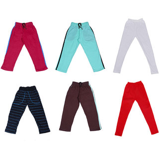 IndiWeaves Girls Combo Pack(Pack of 3 Solid and 1 Printed Lower/Tarck Pants With 2 Cotton Leggings)_Multicolor_2-3 Years_360273033347140304-IW-G-P6-22