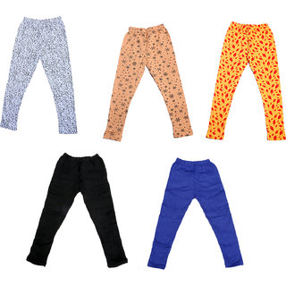 IndiWeaves Girls 3 Cotton Printed and 2 Wollen Warm Legging (Pack of 5)_Multicolor_Size-1-3 Years_714181921-71400-0506-IW-P5-22