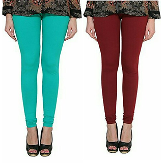 Alishah Cotton Lycra Premium Leggings For Women And Girl Sea Green Maroon