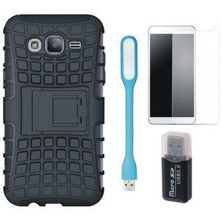 Samsung J7 Pro Shockproof Tough Defender Cover with Memory Card Reader, Tempered Glas and USB LED Light