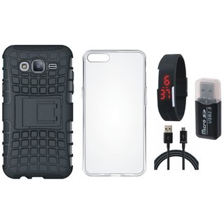 Oppo A71 Shockproof Kick Stand Defender Back Cover with Memory Card Reader, Silicon Back Cover, Digital Watch and USB Cable