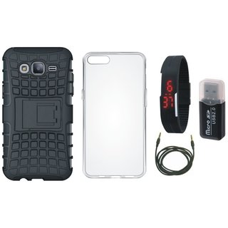 Oppo A71 Shockproof Kick Stand Defender Back Cover with Memory Card Reader, Silicon Back Cover, Digital Watch and AUX Cable